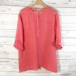Eileen Fisher Coral Linen Popover Tunic Top Sz M